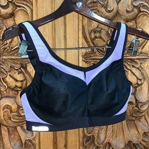 EUC Glamorise 34D sports bra black/purple